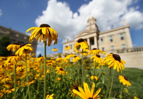 Old Capitol and spring flowers.